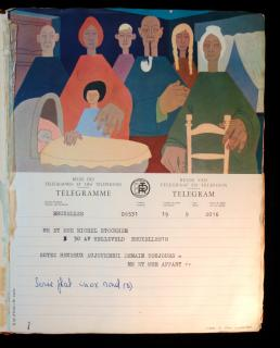 Family Album Containing 32 Illustrated color Belgium telegrams for 2 Weddings 1940s-1950s.