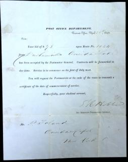 Post Office Department Announcement Awarding Winning Bidder for Route No. 1044 from Durhamville to Oneida Lake NY 1849. ..