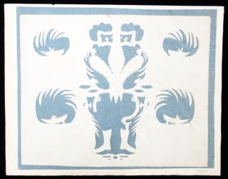 Schrenscnitte style Cut Paper--Abstract Imagery with the appearance of hats and shoes and decorative devices. 1827