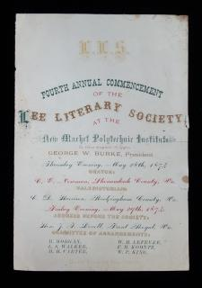 Ticket to the Fourth Annual Commencement of the Lee Literary Society, May 28th 1874.  Lee Literary Society. Virginia. 1874