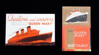 "R.M.S. Queen Mary, The ""New Superliner"" from Cunard White Star Two Promotional Brochures. Cunard White Star. England. 1936"