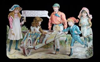 Die Cut Scene of Children at Play with Wheelbarrow with Verse, c1870. . . 1870s