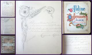 "Edith Beatty's ""Aldine Autograph Album with Decorated Spaces and Lines for Sentiment and Name"", Conshohocken, PA, 1880-1898. ..1878"