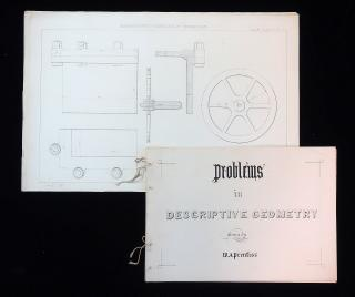 Student Work - Problems in Descriptive Geometry drawn by W. A. Prentiss - Massachusetts Institute of Technology (MIT). ..1871-1872