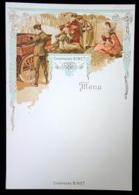 Champagne Binet Blank Advertising Menu, ca. 1890's. ..
