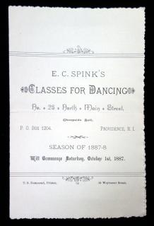 E. C. Spink's Classes for Dancing, . T.S. Hammond.Providence RI.