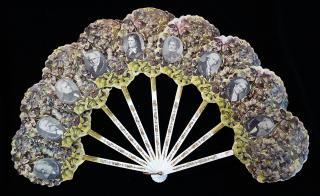 Ladies' Die-cut Embossed Hand Fan with Images of German Poets & Other Literary Figures c1880s. ..