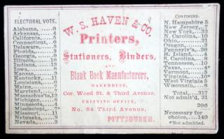 W. S. Haven & Co. Priners, Stationers, Binders, & Blank Book Manufacturers, Pittsburgh. c1865 - with Presidential Votes. ..