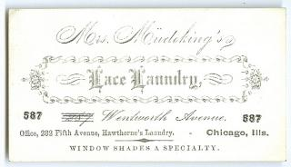 Business Card - Mrs. Meudekin's Lace Laundry, Window Shades a Specialty, Chicago, ILL c1900