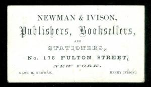 Business Card and Book Publisher's List - Newman & Ivison Publishers, Booksellers, and Stationers,.  c1854