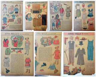 F. Gere, Illustrator.  13 Anna Belle Newspaper Paper Dolls. ..1908-1913