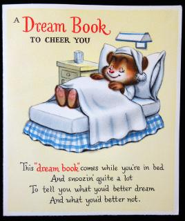 "Vintage Get Well Card with a ""Dream Book"" to Cheer You Up."