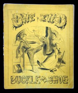 "Learning to Count: or, ""One, Two, Buckle My Shoe."" With 10 illustrationsPrinted in Oil ColorsEngraved by Hoppin.Hurd and Houghton.New York."