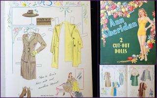 Un-Cut Paper Doll Book Ann Sheridan w 2 Dolls - Authorized Edition.. Whitman Publ. Co...1944