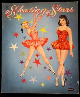 Un-Cut Paper Doll Book Skating Stars, Whitman 1954 - 3 Dolls. ..