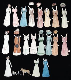 3 Hand Made Paper Dolls w 15 Costumes, A Dog & 2 Cats c1910s. ..