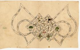 Original Pen & Watercolor Eternal Knot of Love Extra Illustrated with a man and a women, pairs of hearts and hands and flowers and lovebirds c1840s