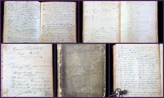 Daniel Warner's Day Book - Payment Records, Days in the Moon's age, Math Problems, Remedies for Man & Beast and much more.. .Henry County, Indiana.1846