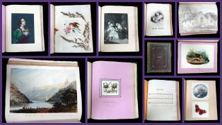 Album with Original Art and Hand Colored Lithography, musings and verse. .England. c 1830-1850s