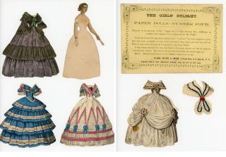 The Girls' Delight Paper Dolls - Number 4 w 4 costumes, envelope & accessory. Clark, Austin & Smith.New York.1858-1860