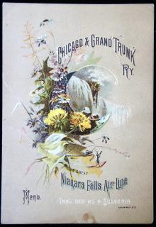 Chicago &  Grand Trunk Railway, The Great Niagara Falls Air Line Menu . Rand McNally & Co...1886