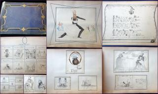 Anonymous My Marvelous Album -  Pen & Ink  and Watercolor Tongue in Cheek Picture Puzzles Drawn by One Hand. .United Kingdom.c1860s