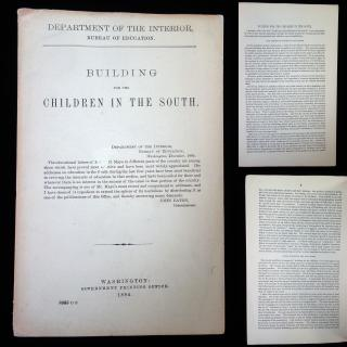 Rev A.D. Mayo Building for the Children in the South. Bureau of Education.Washington D.C..1884