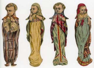 4 Bizarre appearing Infant Toddler Embossed Die-cut Victorian Scraps