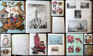 "Friendship Album"" To Susan""  with Asian and other themed Decoupage,  Imagery, Watercolors, Drawings, Sentiments, Enigma, etc.. .UK.1847-1854"