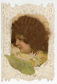 "Octavo - Double Lace Valentine with applied image with ""Real Hair"".  Endearing verse. . ..1890s"