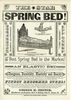 George H. Crouch Illustrated Broadside - The Star Spring Bed! featuring Jonathan and Job. Republic Leg-Power Print.Geneseo, ILL.[1880s]