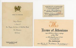 Invitation, Ticket and Menu for Krewe of Athenians Ball. .New Orleans.