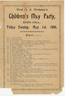 Program - Prof. A. S. Webster's Children's May Party, Eden Hall plus Financial Statement