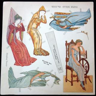 Uncut Sleeping Beauty Paper Doll Sheet No. 0106. McLoughlin.New York.1911-1913