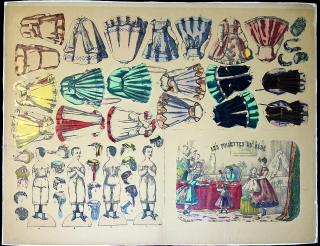 Uncut Lithograph Sheet - Les Toilettes Du Bebe - Boxed  Paper Doll set