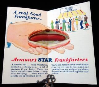 Armour's Star   Armour's Star Frankfurters Links of Goodness - Mechanical Hot Dog Bun. ..1905