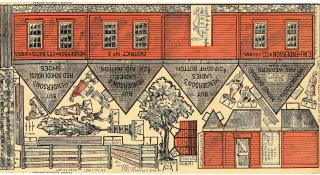 C.M. Henderson & Co. Cut Out New England Red School House Cutout Village. C.M. Henderson & Co. .Chicago.c 1890