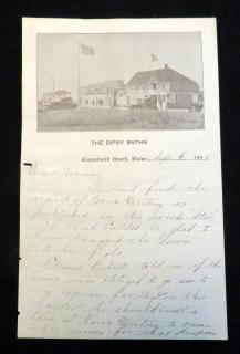 A Letter on The Dipsy Baths Letterhead. .Kennebunk Beach, ME.9379