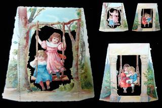 Victorian Die-Cuts with Children on Swings. ..c. 1890s
