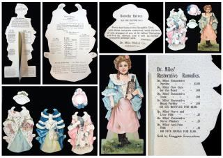Dr. Miles Paper Doll -Dorothy (Dolly) Quincy - Holding a Bottle of Dr. Miles Restorative Nervine. Dr. Miles Medical Co. .Elkhart In..1902