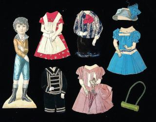 "12"" Die-cut German Doll with 5 Real Fabric Outfits for Boys & Girls. ..c1900"