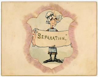 "Dinner in Preparation of Berlin Conference - Fringed Watercolor of Woman holding a ""Separation"" banner, Hotel Brunswick. .Hotel Brunswick.February 10,1884"