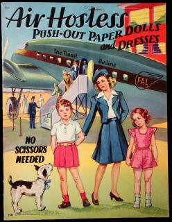 Air Hostess Push-Out Paper Dolls and Dresses. Saalfield.Akron OH.1947