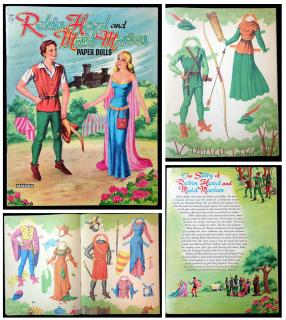 Robin Hood and Maid Marian Paper Dolls. Saalfield No. 2748.Akron OH.1956