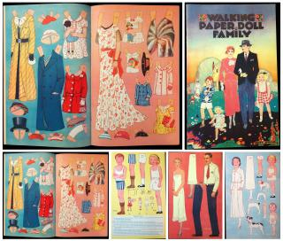 Ruth Upham (Illustrator) Walking Paper Doll Family. Saalfield No. 1074.Akron OH.1934
