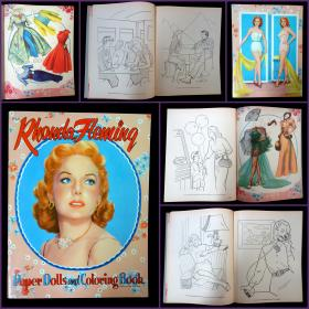 Rhonda Fleming Paper Doll and Coloring Book, Authorized Edition. Saalfield Pub. Co. .Akron, OH.1954