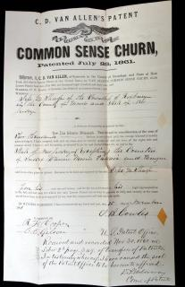 C.D. Van Allen Van Allen's Common Sense Churn Transfer of Patent. .Syracuse, NY.July 23, 1861