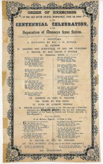 Centennial Celebration of Separation of Danvers from Salem, Massachusetts Broadside. Salem Observer Press .Salem, Mass.1852