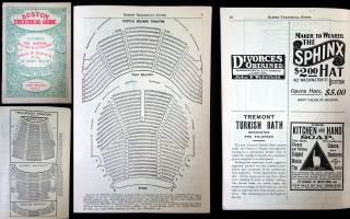 Boston Theatrical Guide. Theatrical Guide Pub Co Publishers.Boston.c. 1905