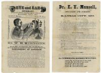 Dr. W. H. Kimberlin & Dr. E. Y. Munsell Eye and Ear Infirmary Illustrated Circular - Treatment of Catarrh, Spinal Curvature and Diseases of Women. .Kansas City, MO.1890s